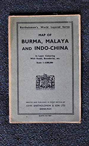 Map of Burma, Malaya and Indo-China in Layer Colouring with Roads, Boundaries, etc. Scale 1:4,000...