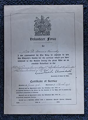 Volunteer Force Discharge Certificate of Service to a Private Francis Kennedy with Facsimile Sign...