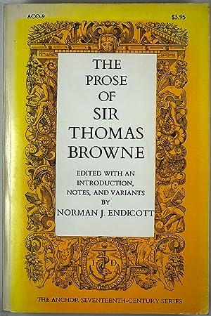 The Prose of Sir Thomas Browne; Religio: Norman J. Endicott