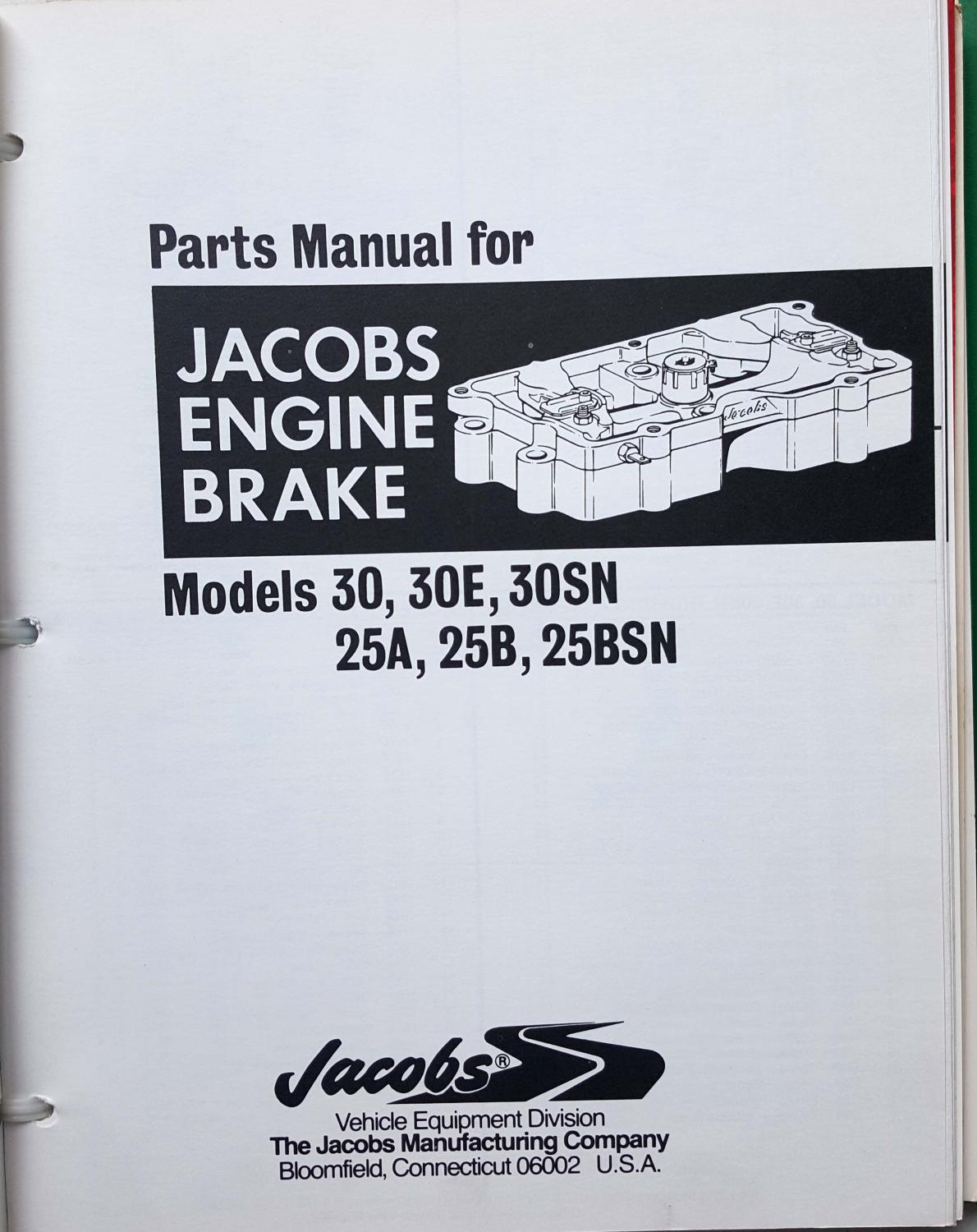 Jacobs Engine Brake Instruction and Parts