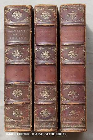 THE LIFE OF SAMUEL JOHNSON, LLD. In Three Volumes ( Complete 3 Volume Set in Full-Leather Prize B...