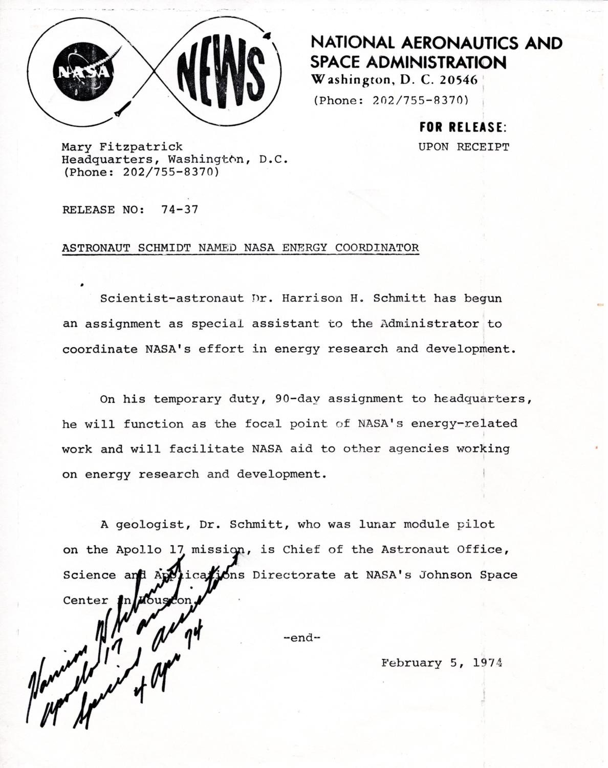 NASA NEWS RELEASE SIGNED BY APOLLO ASTRONAUT