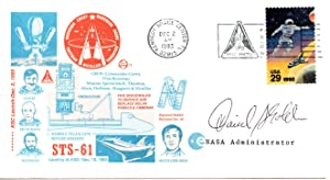 SPACE SHUTTLE MISSION STS-61 POSTAL COVER SIGNED BY THE NINTH NASA ADMINISTRATOR DANIEL GOLDIN