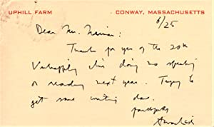 Handwritten Postcard Signed by Archibald MacLeish