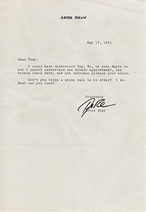 Typed Letter to Tony Galli, Signed By Artie Shaw