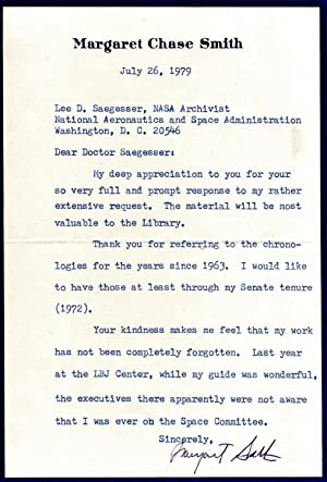 TYPED LETTER SIGNED BY FORMER UNITED STATES SENATOR MARGARET CHASE SMITH