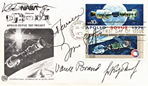 FLOWN FIRST DAY COVER SIGNED BY ENTIRE CREW OF THE APOLLO-SOYUZ TEST PROJECT