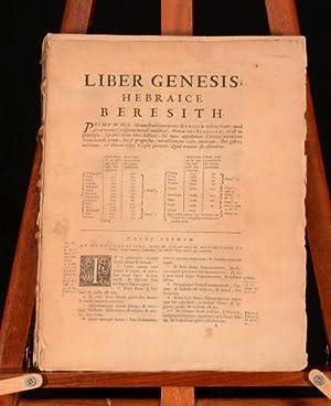Liber Genesis, Hebraice Beresith and Sacrorum Bibliorum: Anon