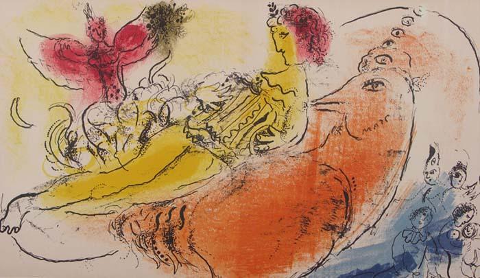 Akkordeonspielerin. Doppelblattgroße Farblithographie auf festem Papier: Marc Chagall (1887