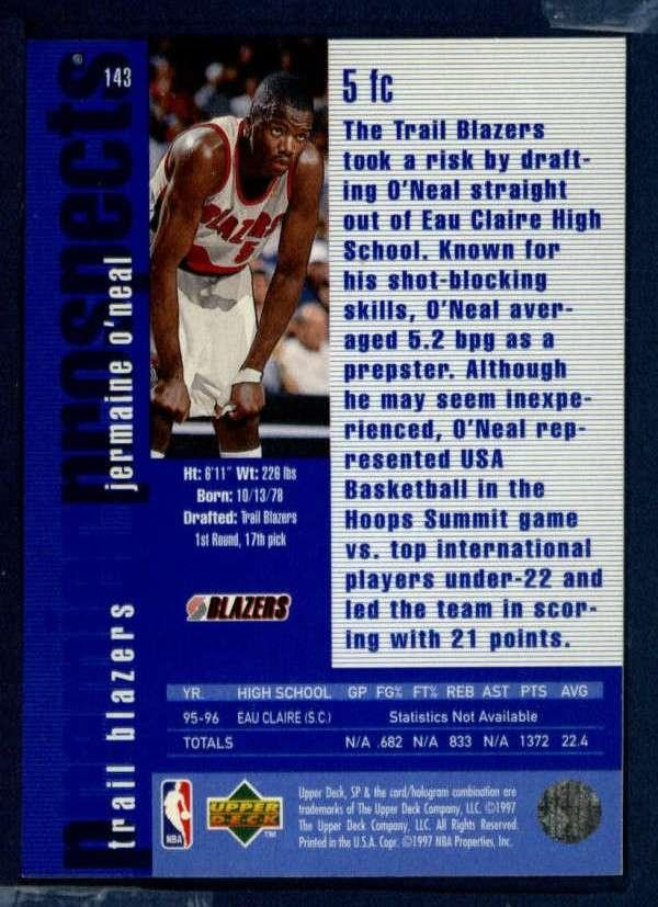 1996 SP #143 Jermaine O'Neal RC NM-MT