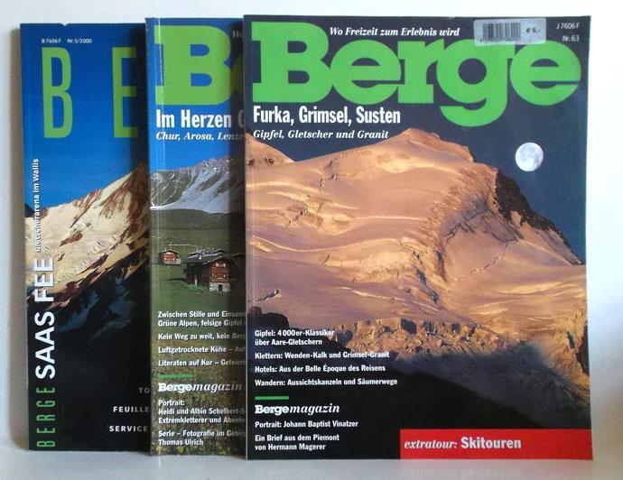 1. Saas Fee - Gletscherarena im Wallis. Thema: Wasser - Berge 5/2000 / 2. Im Herzen Graubündens - Chur, Arosa, Lenzerheide. extratour: Dolomiten/Marmarole - Berge Nr. 92,1998 / 3. Furka, Grimsel, Susten. Gipfel, Gletscher und Granit. extratour: Skitouren