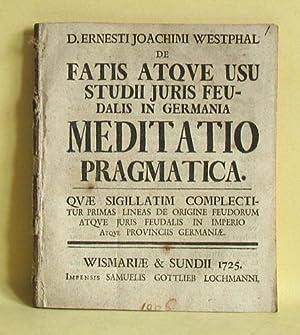 De fatis atque usu studii juris feudalis: Westphalen, Ernst Joachim