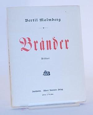 Bränder. Dikter.: Malmberg, Bertil