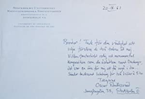 Manuscript Letter sent to the poet and photographer Lütfi Özkök.: Reutersvärd, Oscar