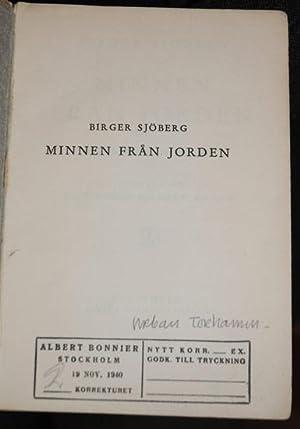 Minnen från jorden. Efterlämnade dikter utvalda av Ernst Norlind och August Peterson.: ...