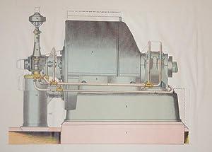 Ångturbin. Kartongbilder över maskinens oika delar med förklaringar.: Ångturbin]