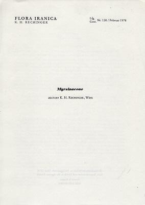 Flora Iranica 130 - Myrsinaceae (Flora des: Rechinger, K.H.