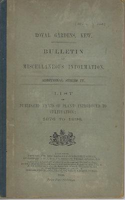 List of Published Names of Plants Introduced to Cultivation: 1876 to 1890 [Bulletin of Miscellane...