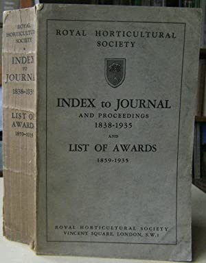 Index to Journal and Proceedings 1838-1935 and List of Awards 1859-1935