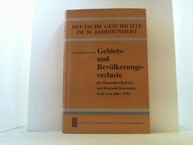 Gebiets- und Bevölkerungsverluste des Deutschen Reiches und: Ertl, Karl Hans,