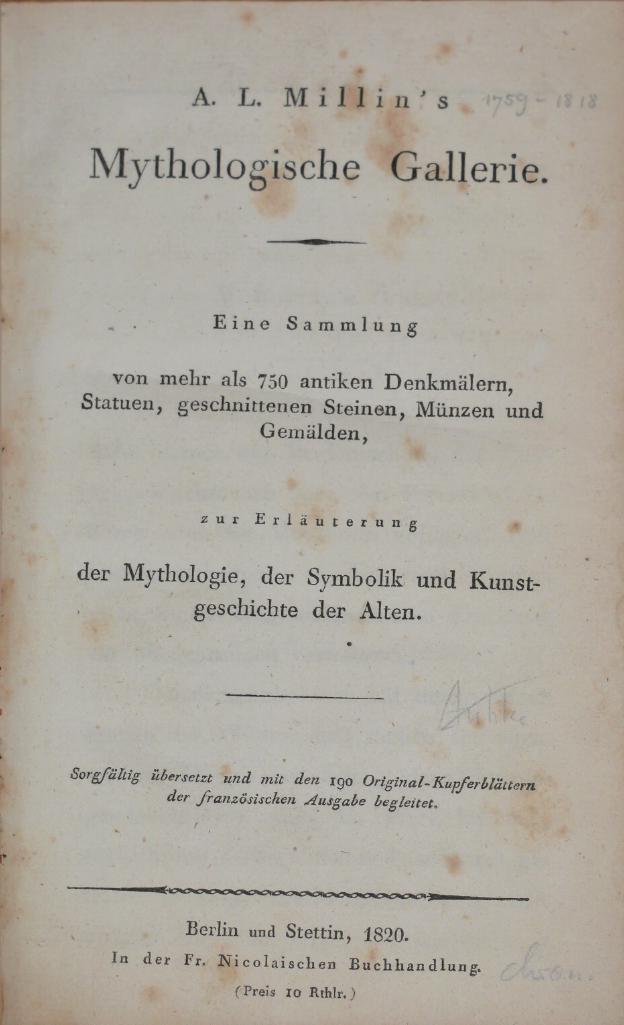 Mythologische Gallerie. Eine Sammlung von mehr als: Millin, A. L.: