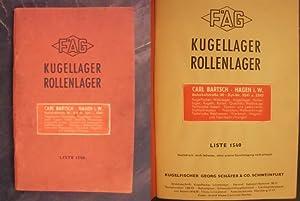 FAG - Kugellager - Rollenlager - Liste: Kugelfischer Georg Schäfer