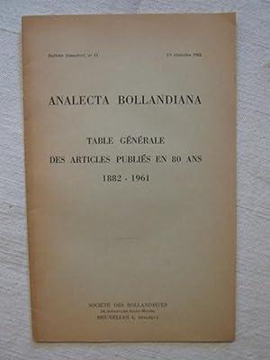 Analecta Bollandiana, table générale des articles publiés: anonyme
