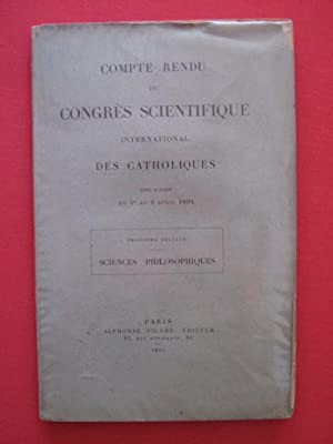 Comte rendu du congré scientifique international des catholiques: collectif