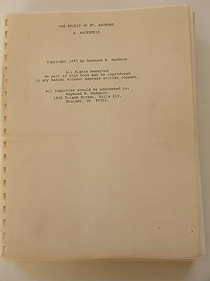 The Spirit of St. Andrews Manuscript: Alister MacKenzie