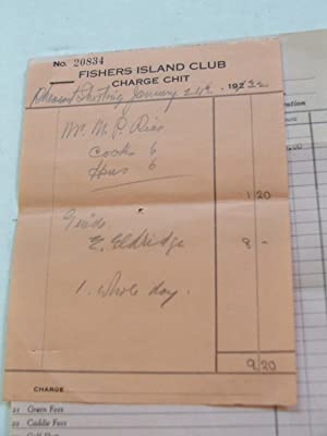 Fishers Island Corporation (Club) Receipt 1932: Fishers Island Corporation