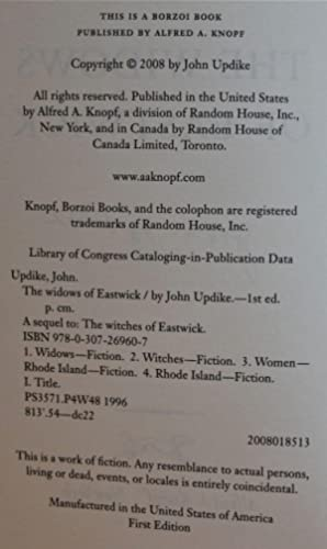 The Widows of Eastwick: Updike, John