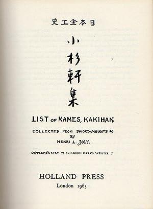 Shosankenshu - Henri L. Joly's List of: Joly, H.