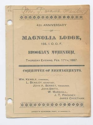 42nd Anniversary Program, Magnolia Lodge: I.O.O.F., Magnolia Lodge