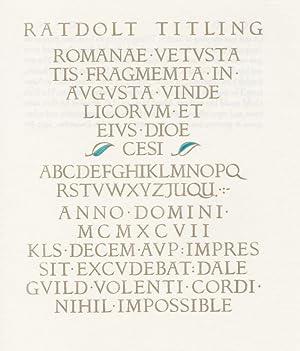 RATDOLT TITLING., A Victor Hammer Font Comes: Rehak, Theo.
