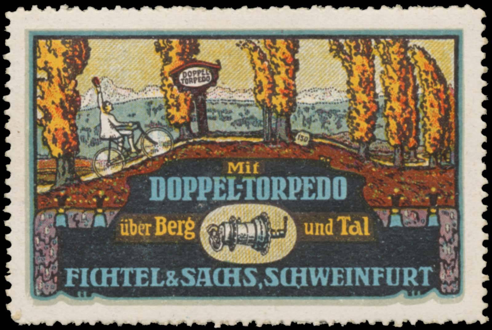 Reklamemarke Mit Doppel-Torpedo über Berg und Tal