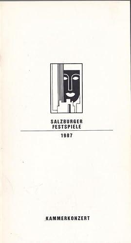 Salzburger Festspiele 1987, Kammerkonzert: Willnauer, Franz (Ed.)