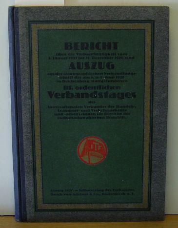 vom 1. Januar 1923 bis 31. Dezember: Bericht über die