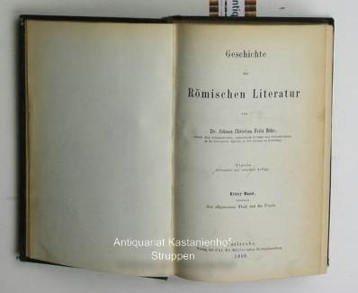 Geschichte der Römischen Literatur,2 Bände: Erster Band,: Bähr, Johann Christian