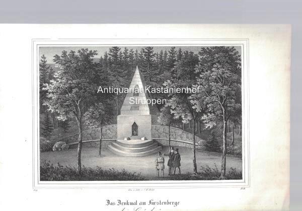 Das Denkmal am Fürstenberge bei Grünhayn. Original-Lithographie.,unten: Gez. u. lith.
