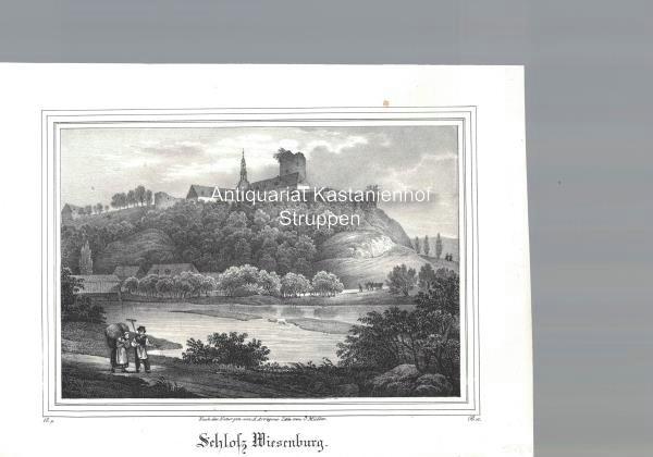 Schloss Wiesenburg. Original-Lithographie.,unten links: IV. 5., unten: Nach der Natur