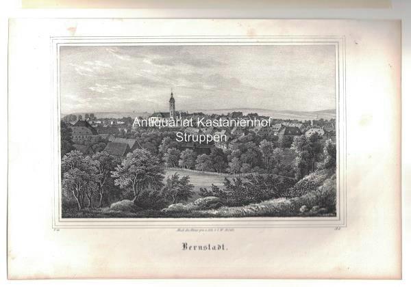Bernstadt. Original-Lithographie.,unten links: V. 13., unten rechts: Nach der Natur