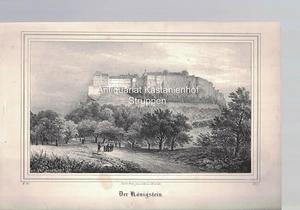 Der Königstein. Original-Lithographie.,unten links: V. 24., unten: Nach d. Natur