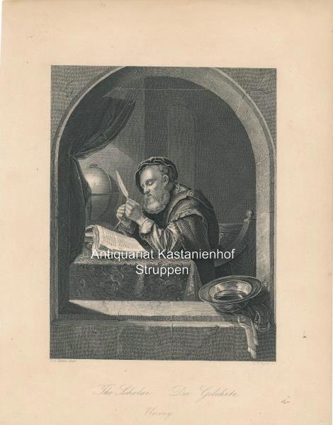The Scholar. Der Gelehrte. Uczony. - Original-Stahlstich: F. v. Mieris