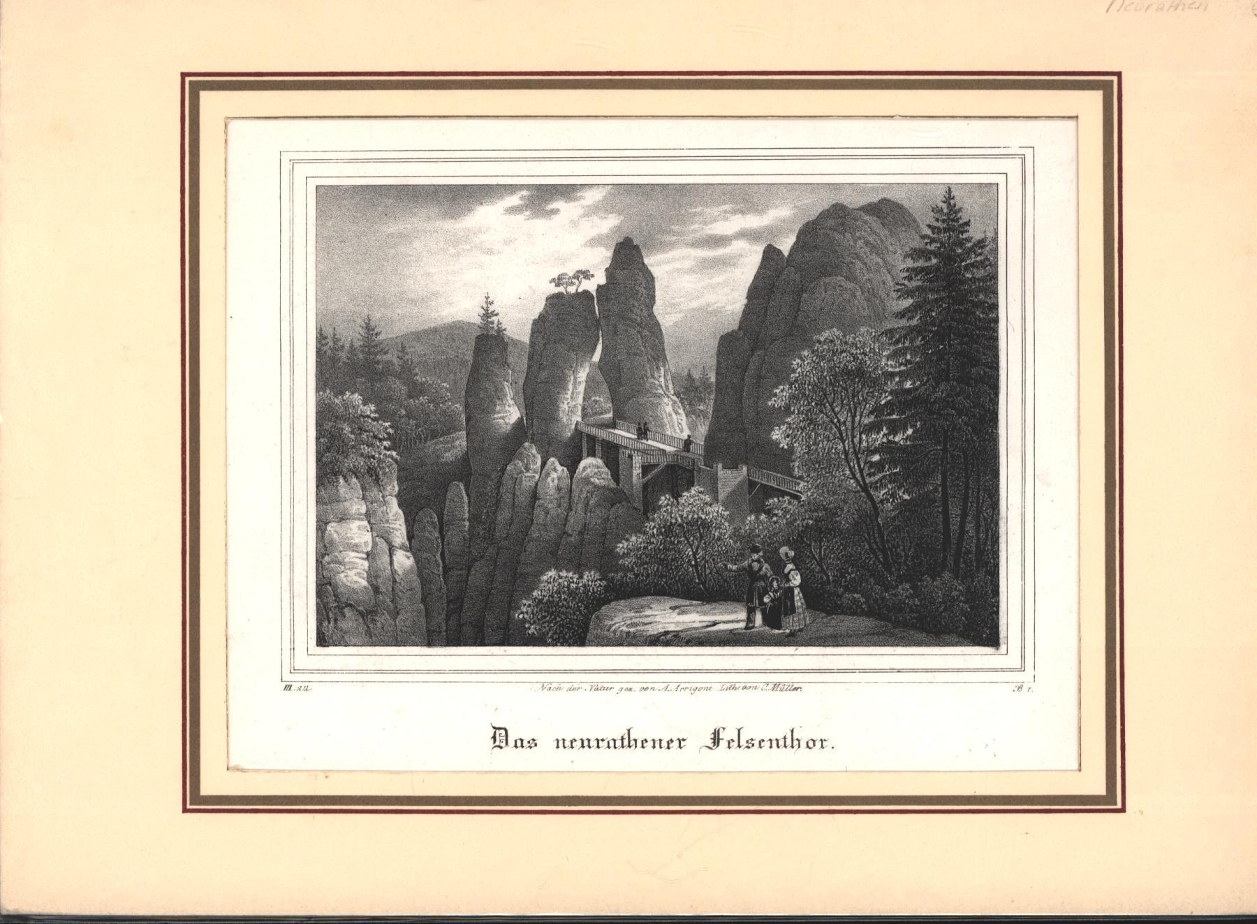 Das neurathener Felsenthor. - Lithographie.,unten links: III.: Nach der Natur