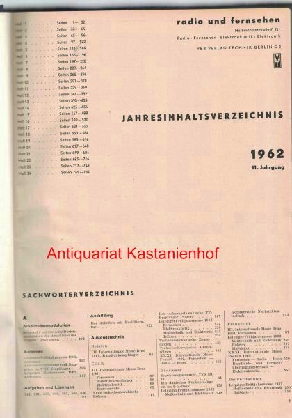 radio und fernsehen 1962 11. Jahrgang,Halbmonatszeitschrift für: Sandig, Herbert; Schäffer,