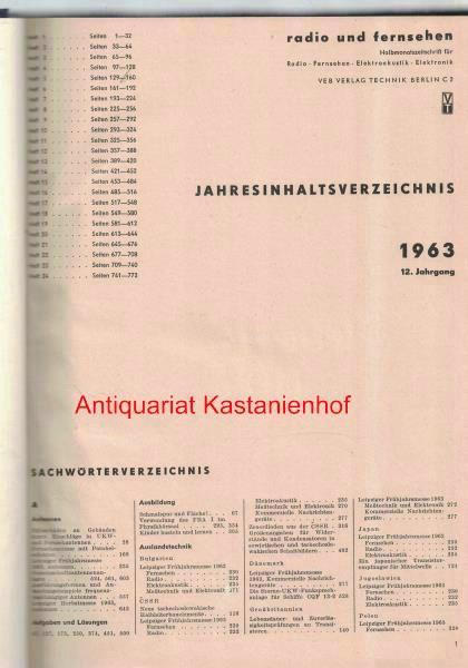 radio und fernsehen 1963 12. Jahrgang,Halbmonatszeitschrift für: Sandig, Herbert; Schäffer,