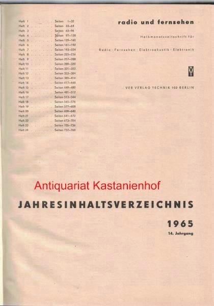 radio und fernsehen 1965 14. Jahrgang,Halbmonatszeitschrift für: Sandig, Herbert; Schäffer,