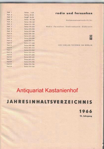 radio und fernsehen 1966 15. Jahrgang,Halbmonatszeitschrift für: Sandig, Herbert; Schäffer,