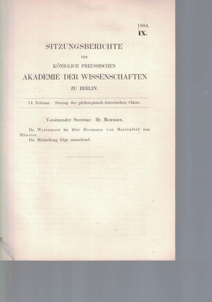 Sitzungsberichte der Königlich Preussischen Akademie der Wissenschaften: Wattenbach, W.