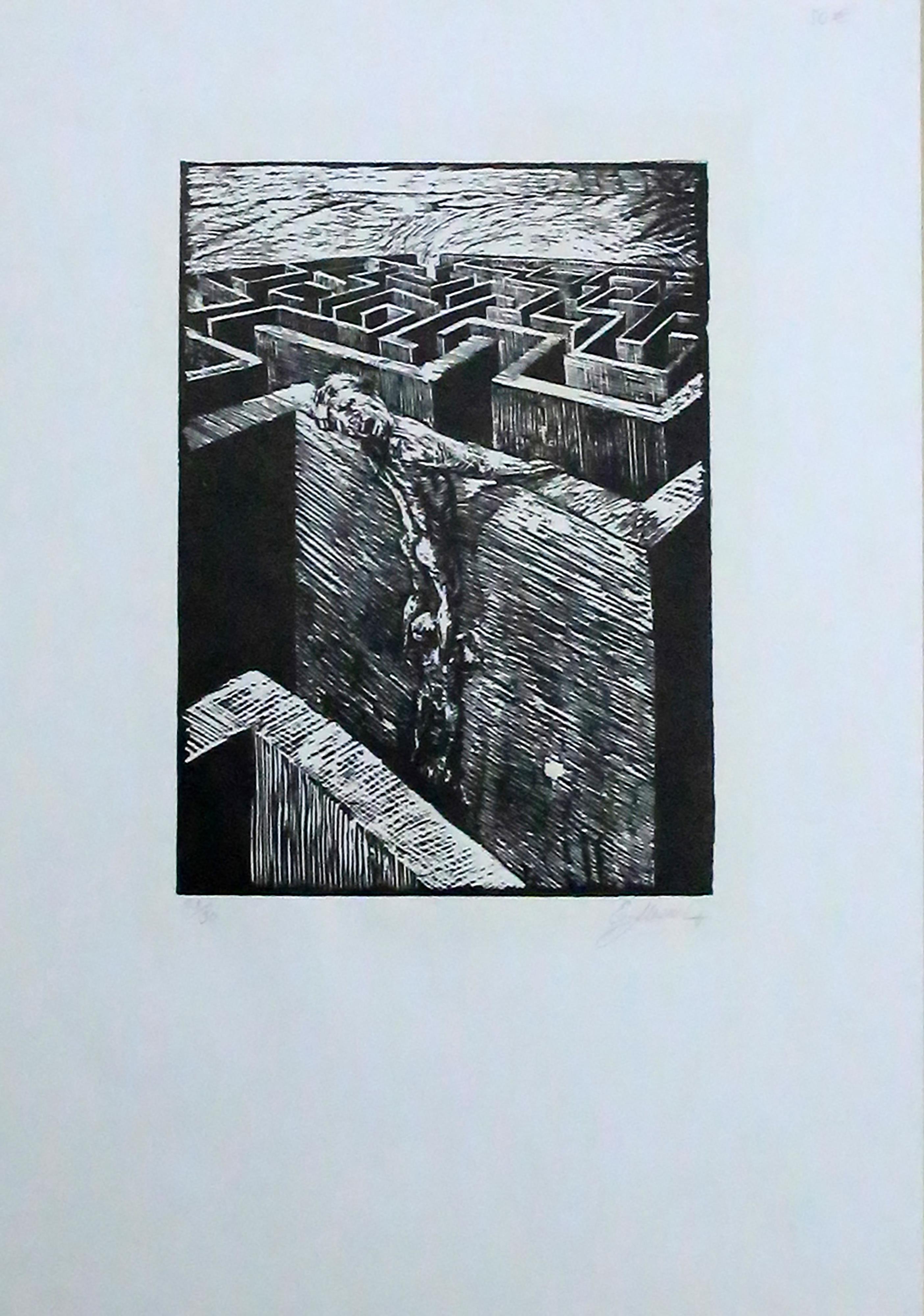 o. T., Mauerlabyrinth mit Mensch,: unleserlich